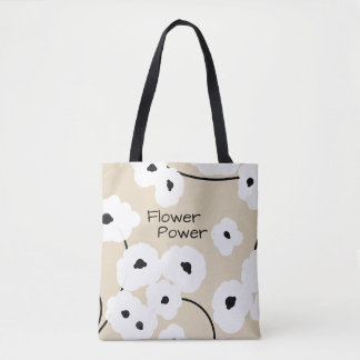 CHIC TOTE/BAG_COOL WHITE & BLACK POPPIES_DIY! TOTE BAG