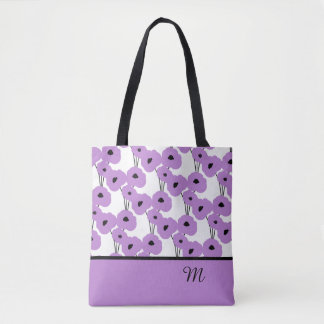 CHIC TOTE/BAG_ MOD LAVENDER & BLACK POPPIES TOTE BAG