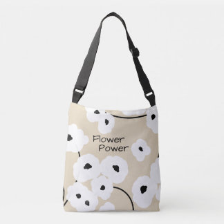 CHIC TOTE/BAG_ MOD WHITE & BLACK POPPIES_DIY! CROSSBODY BAG