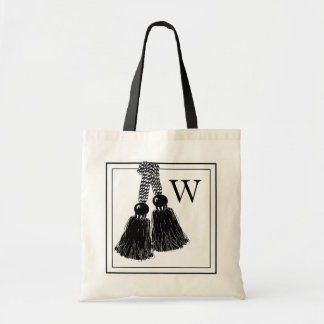 CHIC TOTE_BLACK/WHITE TASSELS WITH MONOGRAM TOTE BAG