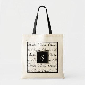 """CHIC TOTE_""""Bride"""" BLACK/WHITE TEXT DESIGN Tote Bag"""