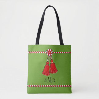 CHIC TOTE_CHRISTMAS RED & WHITE WITH MONOGRAM TOTE BAG