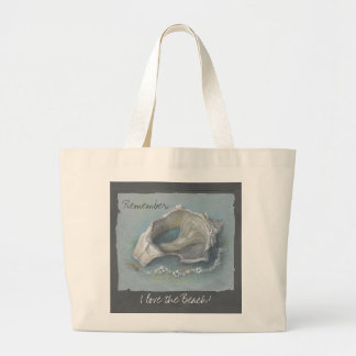 "CHIC TOTE_""I LOVE THE BEACH"" MEMORIES SEA SHELL LARGE TOTE BAG"