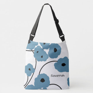 CHIC TOTE_MOD BLUE & BLACK POPPIES CROSSBODY BAG