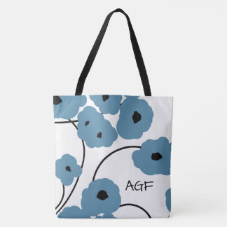 CHIC TOTE_MOD BLUE & BLACK POPPIES TOTE BAG