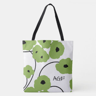 CHIC TOTE_MOD GREEN & BLACK POPPIES TOTE BAG
