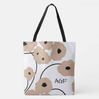 CHIC TOTE_MOD HAZELNUT & BLACK POPPIES TOTE BAG