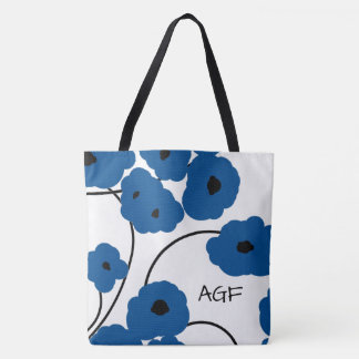 CHIC TOTE_MOD LAPIS BLUE & BLACK POPPIES TOTE BAG