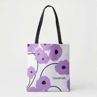 CHIC TOTE_MOD LAVENDER & BLACK POPPIES TOTE BAG