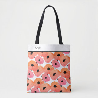 CHIC TOTE_MOD MIXED PINK/PEACH &  BLACK POPPIES TOTE BAG