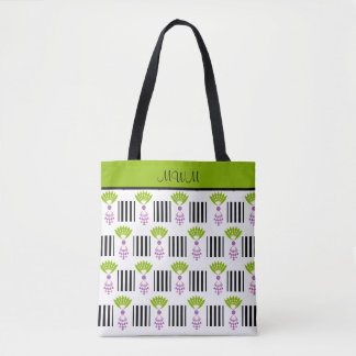 CHIC TOTE_MOD PINEAPPLES AND STRIPES TOTE BAG