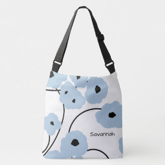 CHIC TOTE_MOD SOFT BLUE & BLACK POPPIES CROSSBODY BAG