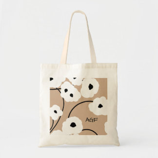 CHIC TOTE_.MOD WH ITE & BLACK POPPIES