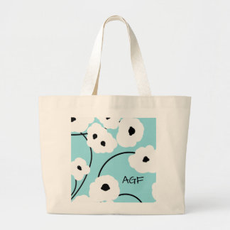 CHIC TOTE_.MOD WH ITE & BLACK POPPIES LARGE TOTE BAG