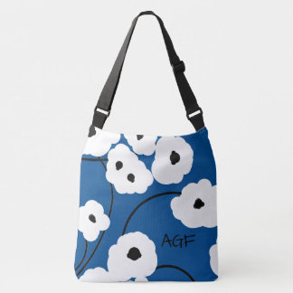 CHIC TOTE_MOD WHITE & BLACK POPPIES CROSSBODY BAG