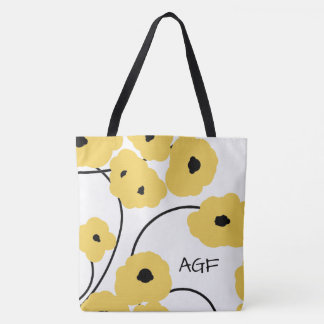 CHIC TOTE_MOD YELLOW & BLACK POPPIES TOTE BAG