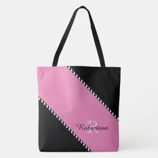 CHIC TOTE_MODERN BLACK & PINK STRIPES TOTE BAG