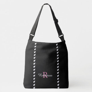 CHIC TOTE_MODERN BLACK & WHITE STRIPES CROSSBODY BAG
