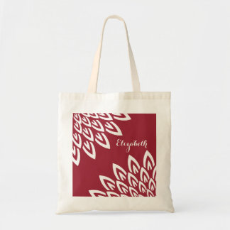 CHIC TOTE_MODERN WHITE FLORAL ON RED BUDGET TOTE BAG
