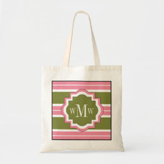 CHIC TOTE_PINK/GREEN STRIPES TOTE BAG
