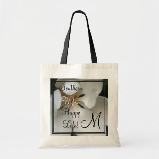 """CHIC TOTE-""""SOUTHERN WIFE HAPPY LIFE""""  FLORAL TOTE BAG"""