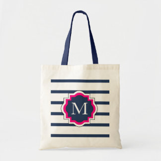 CHIC TRAVEL/BAG_PREPPY 435 NAVY/WHITE STRIPES TOTE BAG
