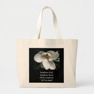 """CHIC TRAVEL/BAG TAG_""""Southern Girl.""""WHITE MAGNOLIA Jumbo Tote Bag"""
