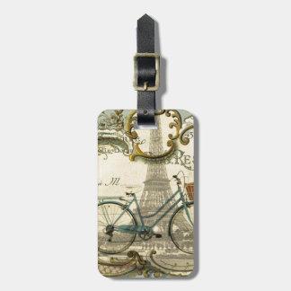 chic traveller vintage bicycles paris eiffel tower luggage tag