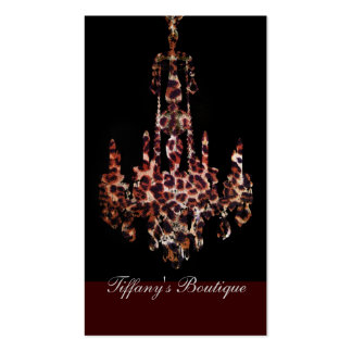 chic trendy girly leopard print chandelier business cards