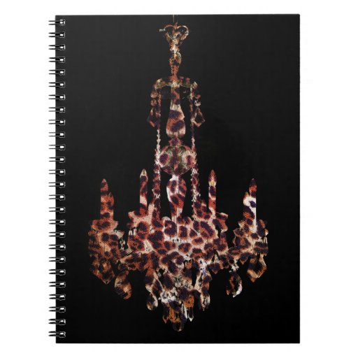 chic trendy girly leopard print chandelier spiral note book