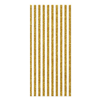 Chic Trendy Gold White Stripes Glitter Photo Print Rack Cards