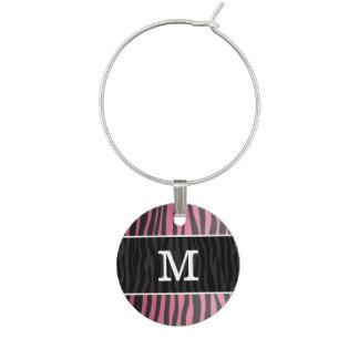 Chic trendy princess pink and black zebra print wine charm