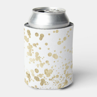 Chic trendy white faux gold elegant confetti dots can cooler
