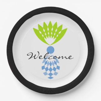 "CHIC TROPICAL ""WELCOME"" MOD BLUE ISLAND PINEAPPLE PAPER PLATE"