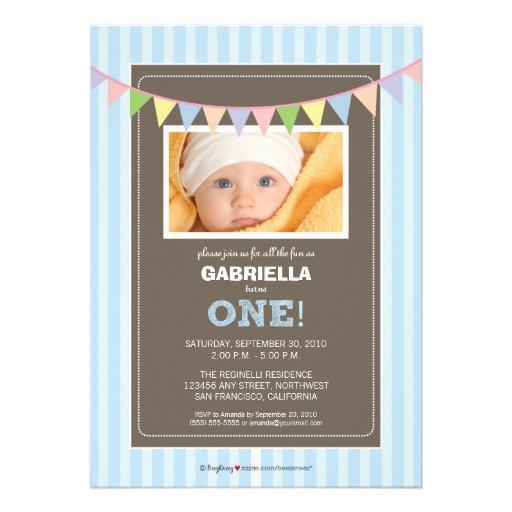 Chic Turning 1 Birthday Party Invitation (blue)