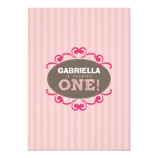 Chic Turning 1 Birthday Party Invitation (pink)