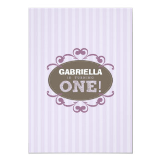 Chic Turning 1 Birthday Party Invitation (purple)