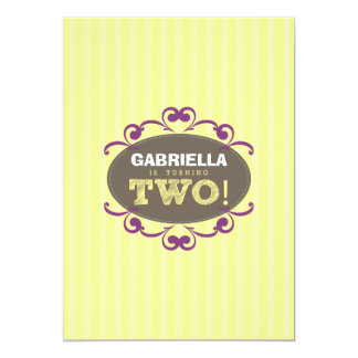 Chic Turning 2 Birthday Party Invitation (yellow)