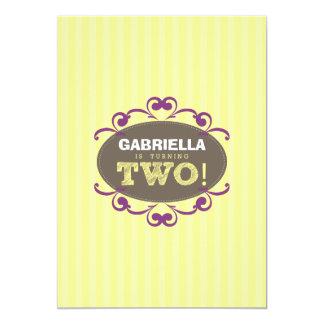 "Chic Turning 2 Birthday Party Invitation (yellow) 5"" X 7"" Invitation Card"
