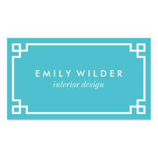 Chic Turquoise and White Greek Key Pack Of Standard Business Cards