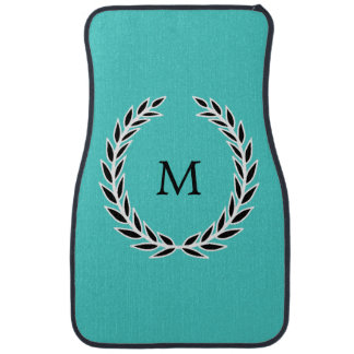 Chic Turquoise Black and White Wreath Monogram Car Mat