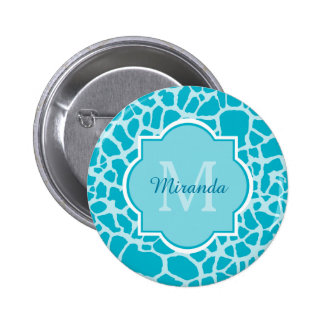 Chic Turquoise Giraffe Print Monogram With Name 2 Inch Round Button
