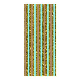 Chic Turquoise Gold Stripes Glitter Photo Print Full Color Rack Card
