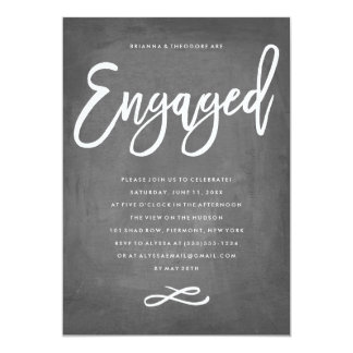 Chic Typography Chalkboard Engaged Engagement Card