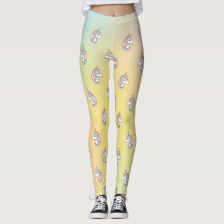 Chic Unicorns and Rainbow Color Pattern Leggings