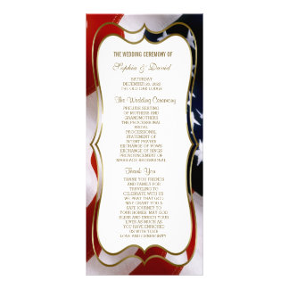 Chic USA flag Gold Wedding Custom  Program Rack Card