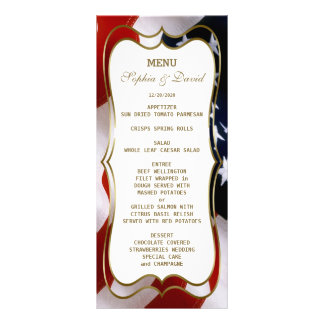 Chic USA flag Gold Wedding Menu