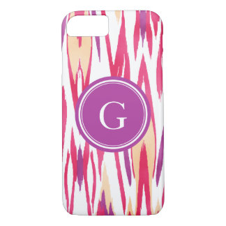 Chic vibrant red orchid watercolor ikat pattern iPhone 7 case