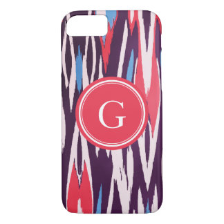 Chic vibrant red purple watercolor ikat pattern iPhone 7 case