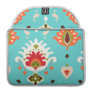 Chic vibrant turquoise  tribal ikat print sleeve for MacBooks